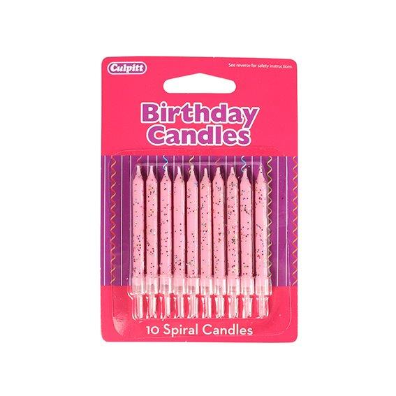 10 Glitter Candles with Holder - Pink