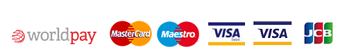 Payments powered by Worldpay, accepting MasterCard, Maestro, Visa Debit, Visa and JCB